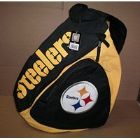 Brand New NFL Adult Pittsburgh Steelers  Large Slingback Backpack Gold And Black