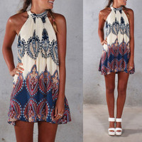 Halterneck with All-Over Print and Back Keyhole Mini Dress