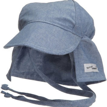 Flap Happy Flap Hat With Ties, Chambray Large