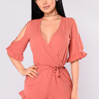 Be Patient Romper - Marsala