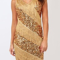 Gold Patchwork Sequin Tassel V-neck Tina Turner Nightclub Gatsby Flapper Dress