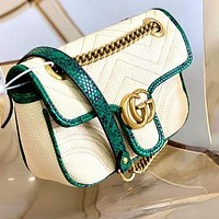 Gucci Counter Synchronous Double G Interlocking GG Marmont Beige Bag Shoulder Bag