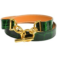 "Hermes Green & Gold Tone Alligator Leather ""Chaine D'Ancre"" Belt Size 80"