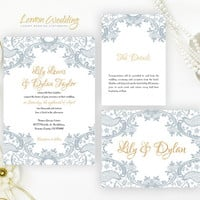Grey Lace Wedding Invitations Packs