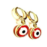 Evil Eye Huggies Earrings 18kts Gold Plated