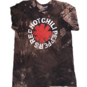 Hand Bleached Red Hot Chilli Peppers Logo Tee