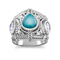 Sterling Silver Blue Topaz and Turquoise Ring