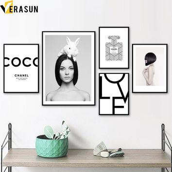 Girl Perfume Rabbit Love Quotes Nordic Posters And Prints Wall Art Canvas Painting Wall Pictures For Living Room Home Decor
