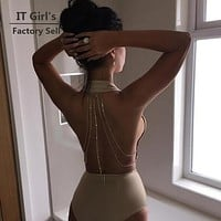 Sexy Women Bodysuit Solid Overalls Summer 2016 Bodycon backless Jumpsuit romper Backless sequin chain Woman Playsuit