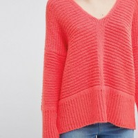 ASOS Chunky Sweater In Fluffy Yarn With V Neck at asos.com