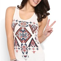 Racerback Trapeze Tank Top with Aztec Screen