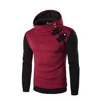 Mens Causal Hip Tracksuit Brand Hoodie Hedging Oblique Zipper Sweatshirt Slim Fit Men Hoody