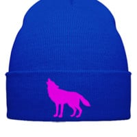 Howling Wolf Embroidery - Beanie Cuffed Knit Cap
