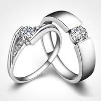 Forever Love Platinum Plated Diamond Promise Love Rings Wedding Eternity Love Ring Women Men Couple Rings Valentine Gift ( Only 1 pcs ) Men or Women size