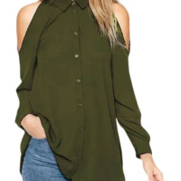 Women's Off Shoulder Turn Down Collar Loose Cut Out T-shirt Tops Blouse