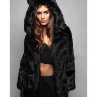 Fashionable Hooded Faux Fur Bear Coat For Women