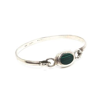 Banded Malachite Mexican Taxco sterling silver signed cuff bracelet gemstone 925