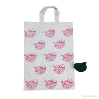 Hand block Printed Jhola Bag in Red and White Fish Print