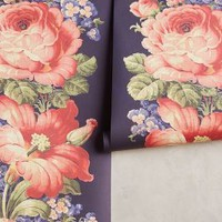 English Rose Wallpaper by Anthropologie in Navy Size: One Size Decor
