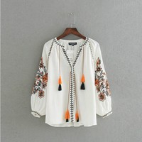 Vintage Ball Strappy V neck Floral Striped Embroidery Shirt Ethnic New Woman Cotton linen Lacing up Blouse Femme Loose Tops