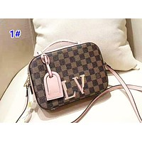 Louis Vuitton Women's fashion casual color matching checkerboard camera bag small square bag shoulder bag 1#