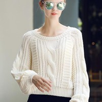 White Plain Long Sleeve Knit Pullover Sweater