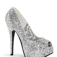 Bordello Silver Glitter Peep Toe Slip On Platform Pumps