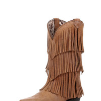 Women's Tres Fringe Boot - Tan