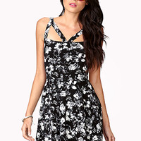FOREVER 21 Cutout Floral Fit & Flare Dress Black/Cream