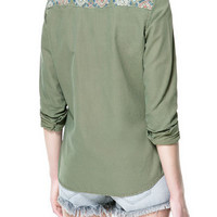 CANVAS SHIRT WITH EMBROIDERED YOKE AND MIRRORS - Shirts - TRF - ZARA United States