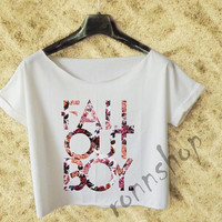 Fall Out Boy Flower crop top shirt women color White and Black TO 30B