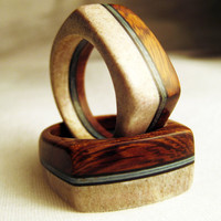 Antler and Wood Pair of Rings - Desert Ironwood and Deer Antler Ring For Two