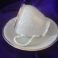 Formalities Ivory Embossed Teacup, Feathered Scrolls, Gold Trim, Baum Bros Fine Bohemian Porcelain, Czech Republic