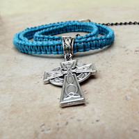 Men's Celtic Cross Necklace:  Neon Turquoise Blue Macrame Cord Unisex Jewelry, Father's Day