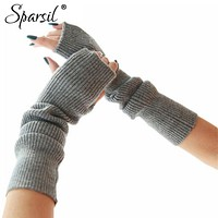 Women Arm Length Cashmere Blend Finger Less Gloves
