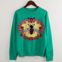 Gucci Fashion Long Sleeve Casual Knit Round Neck Sweater