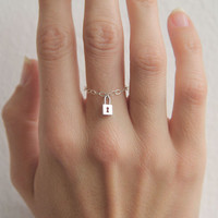 Silver Dainty Ring, silver Rings, Stacking Chain Ring, Lock Ring, Thin silver ring, Christmas Gift
