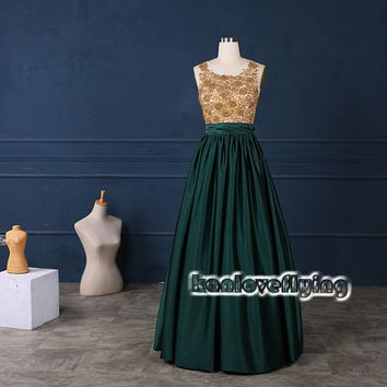 Elegant long green satin prom dresses gowns lace top,2015 new formal evening dresses,long party dress,homecoming dress,sweet 16 dresses