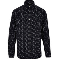 River Island MensNavy Only & Sons moustache print shirt