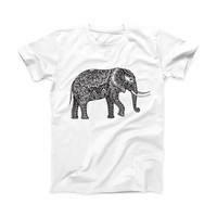 The Black and White Aztec Ethnic Elephant ink-Fuzed Front Spot Graphic Unisex Soft-Fitted Tee Shirt