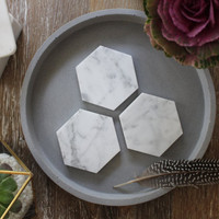 Carrara Marble Geometric Hexagon Coasters