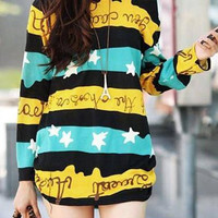 Casual Round Collar Long Sleeve Star Pattern Dress