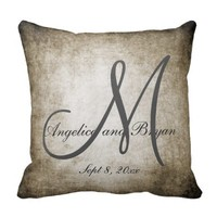 Vintage Monogrammed Wedding Pillows