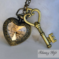 Heart Shaped Vintage Inspired brown cover Watch Necklace with loving key