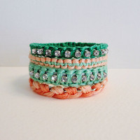 Set of 4 Woven Bracelets with Chain and by IzzySeeIzzyDo on Etsy