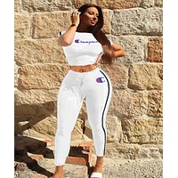 Champion Popular Women Casual Print Shorts Sleeve Crop Top Pants Set Two-Piece Sportswear White