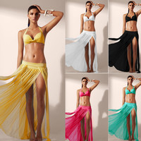 Women Summer Chiffon Swimwear Bikini Sexy Cover Up Bathing Suit Sarong Wrap Pareo Dress F00173