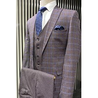 Checked Burgundy Vested Suit Set