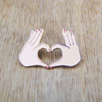 LOVE pin - Heart lapel pin - Hand enamel pin - Tiny manicured hand pin - quirky brooch - little hand pin's - miniature hand mini hand brooch