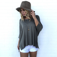 Autumn Jersey Dolman Top In Mermaid Olive